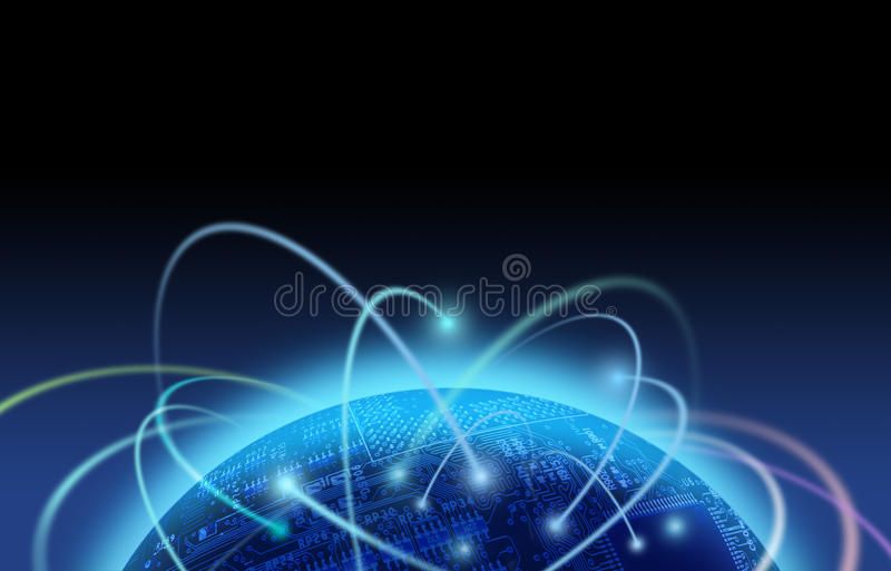 Tráfico do Internet sobre o mundo da placa de circuito ilustração royalty free