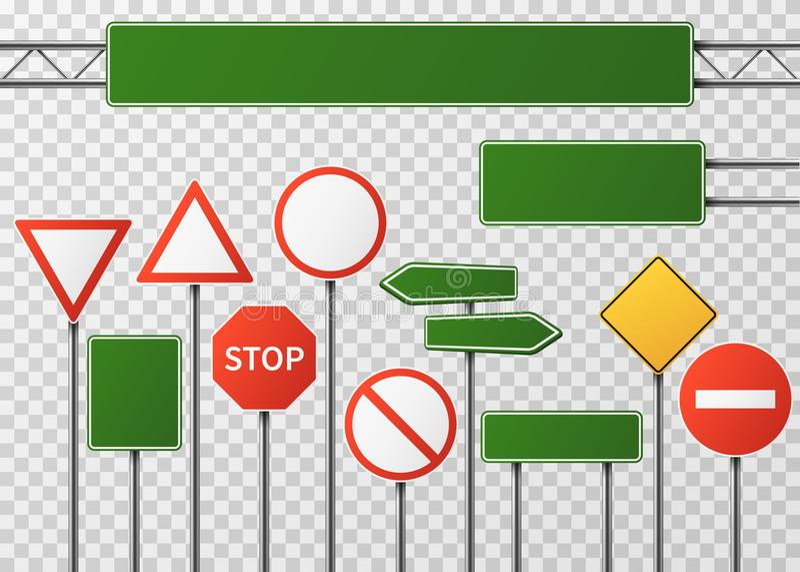 Tráfico en blanco de la calle y sistema del vector de las señales de tráfico aislado stock de ilustración