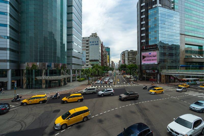 Tráfico en el camino en Taipei, Taiwán fotos de archivo libres de regalías