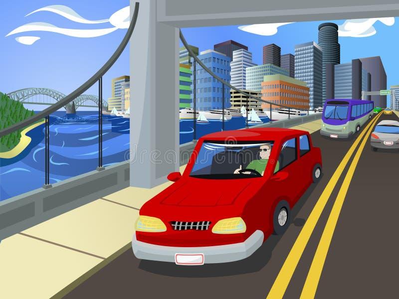 Tráfico en el puente de una ciudad ocupada libre illustration