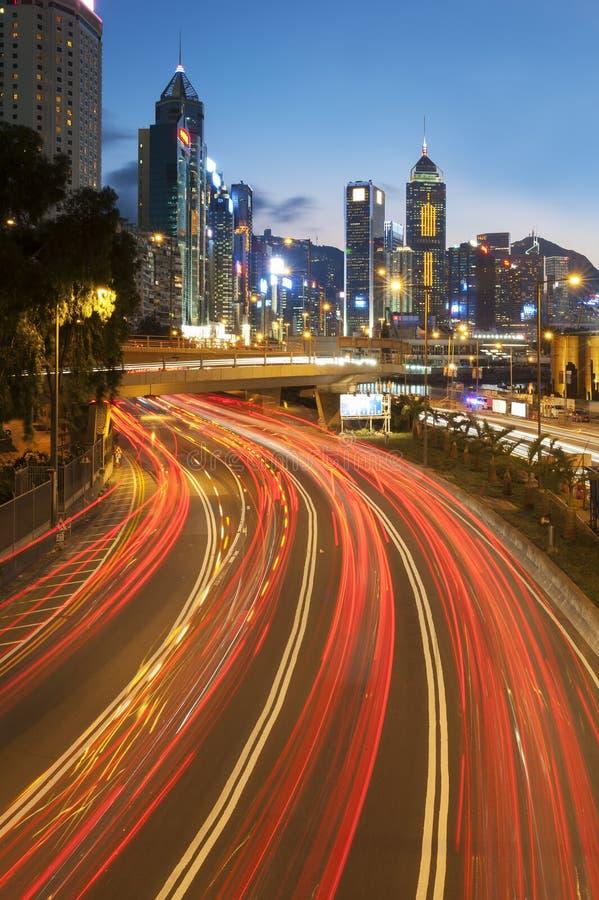 Tráfico en la ciudad de Hong Kong fotos de archivo