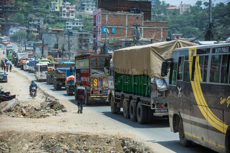 Tráfico en Nepal fotografía de archivo