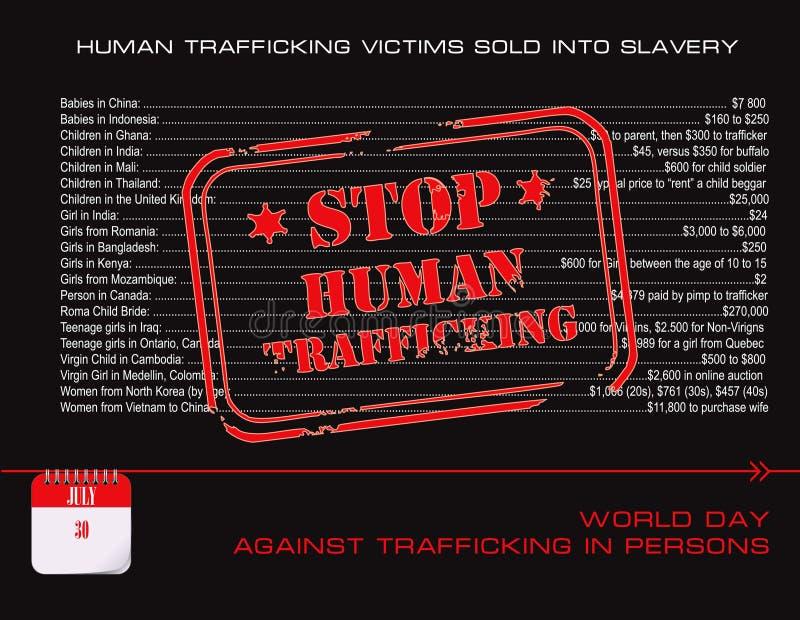 Tráfico humano da parada do cartão ilustração stock
