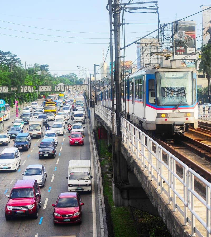 Tráfico urbano de Manila, Filipinas fotografía de archivo