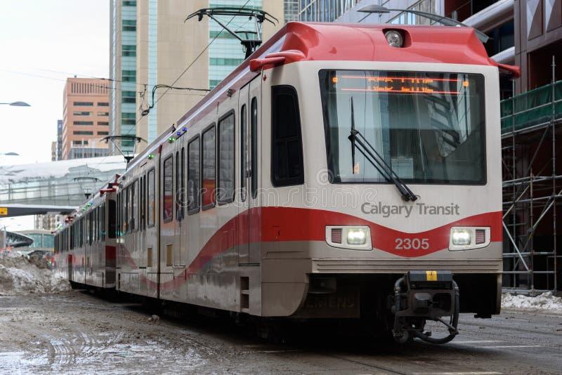 Tránsito de Calgary - línea roja fotografía de archivo