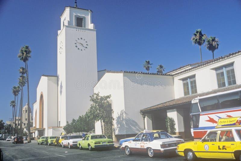 Trânsito do trilho da estação da união na cidade de Los Angeles, Califórnia foto de stock royalty free