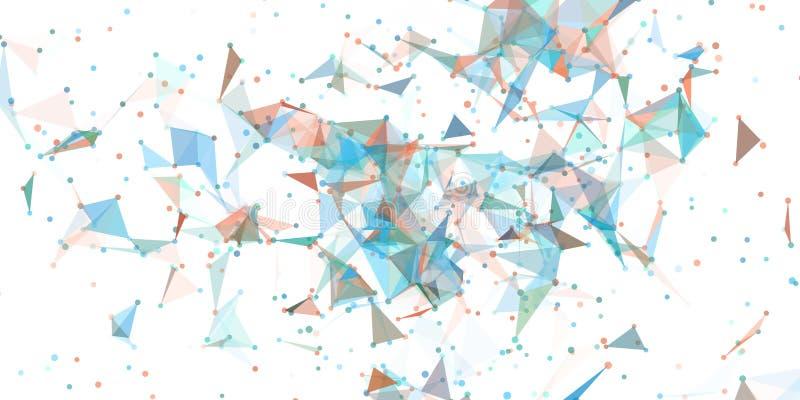Trójboka przepływ kropkuje linia wybuchu czerepy szkło ilustracja wektor