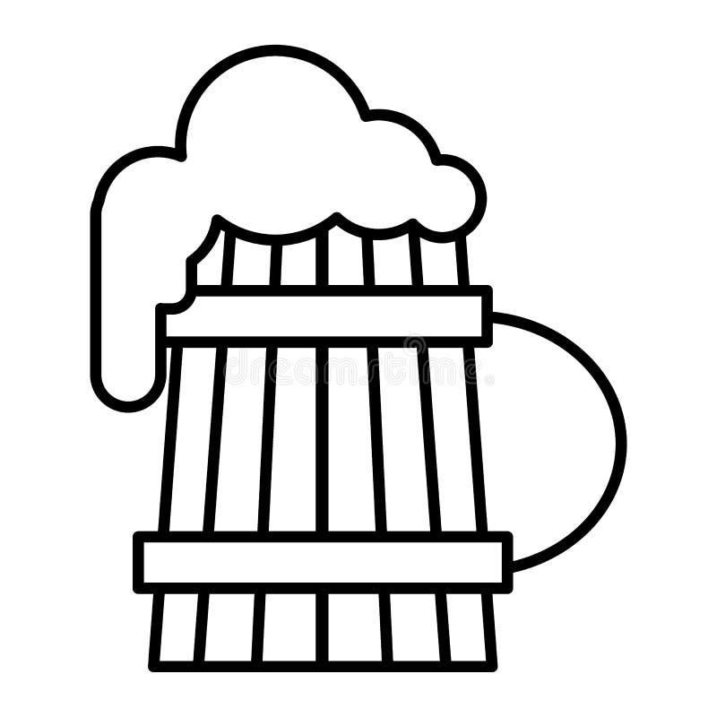 Träöl rånar med den tunna linjen symbol för skum Gammalt exponeringsglas av ölvektorillustrationen som isoleras på vit Halv liter royaltyfri illustrationer