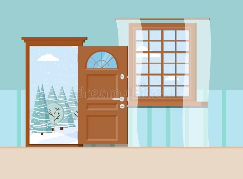 Träöppet ingångsdörr och fönster med härlig sikt av vinterskoglandskapet stock illustrationer