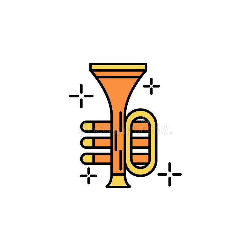 Trąbka, instrument ikona Element koloru St Patricks dnia ikona Premii ilości graficznego projekta ikona znaki i symbole inkasowi royalty ilustracja