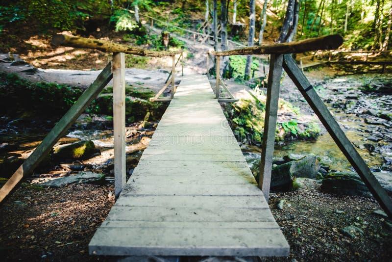 Trä överbrygga över en liten flod fotografering för bildbyråer