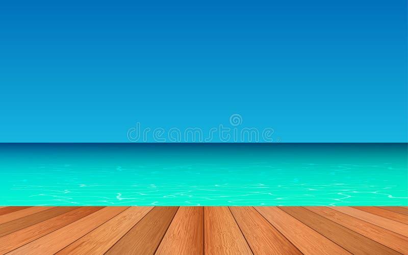 Trä däcka på stranden royaltyfri illustrationer