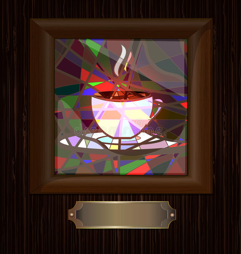 trä för exponeringsglas för kaffekoppram nedfläckadt stock illustrationer