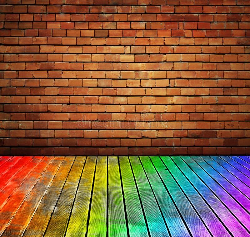 trä för vägg för tappning för textur för tegelstengolvinterio stock illustrationer