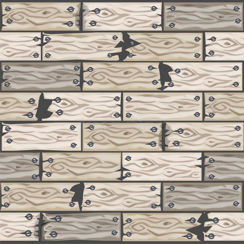 Trä gjorde vit modellen för golvtegelplattor Träparkettbräde för sömlös textur Vektorillustration för användargränssnittet av lek royaltyfri illustrationer