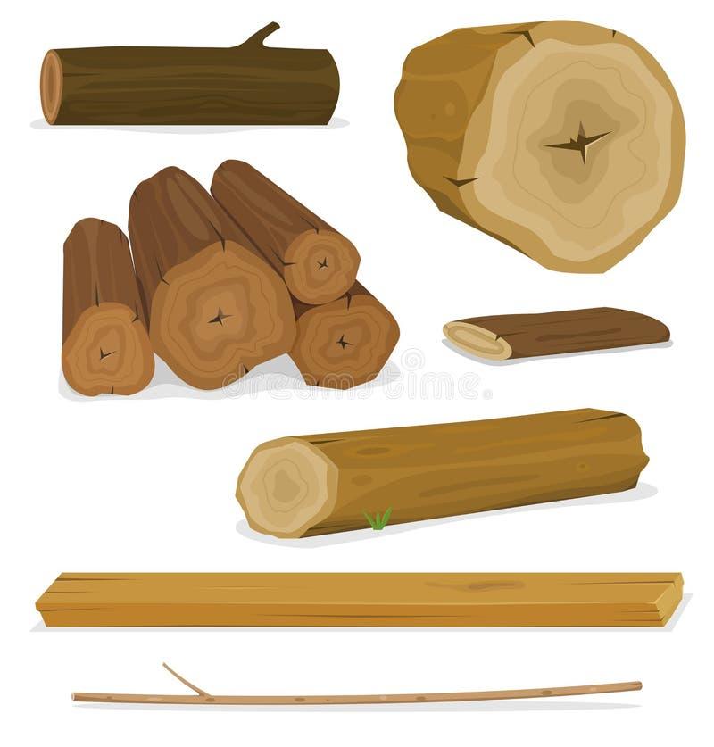 Trä loggar, fastställda stammar och plankor vektor illustrationer
