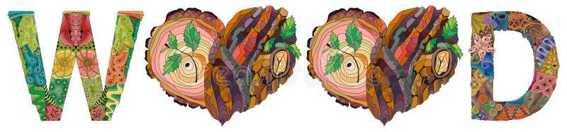 TRÄ med dockhjärtan med träbarktextur och unga skott royaltyfri illustrationer