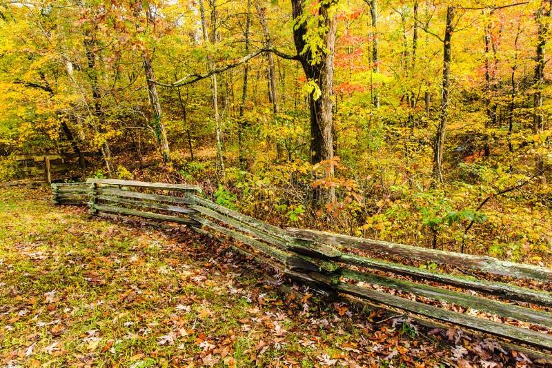 Trä Rail Fence Natchez Trace Parkway fotografering för bildbyråer