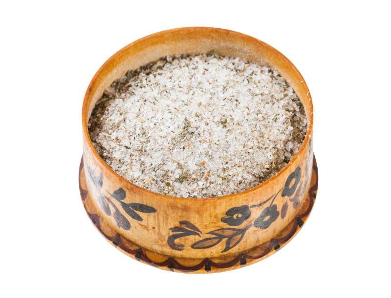 trä salta källaren med kryddat saltar med kryddor arkivfoton