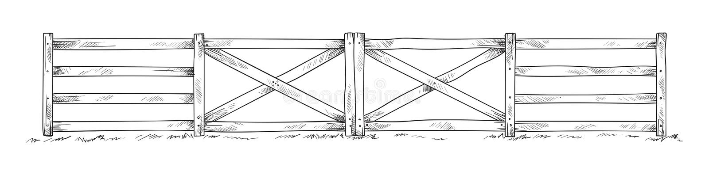 Trä skissa staketet vektor illustrationer