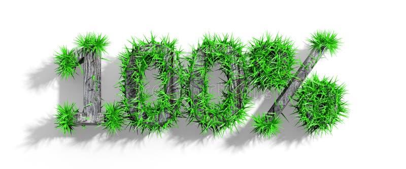 Trä100% text med grönt gräs stock illustrationer
