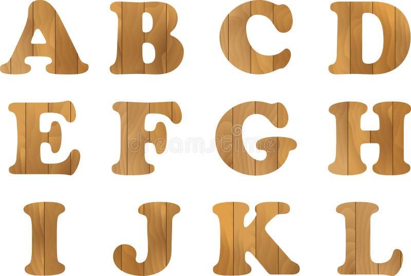 Träalfabetet, vektoruppsättningen med träbokstäver, för textmeddelande, titeln eller logoer planlägger vektor illustrationer