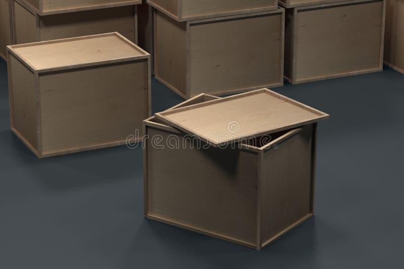 Träaskar för att förpacka på golvet framf?rande 3d stock illustrationer