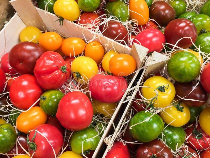 Träaskar med till salu nya tomater royaltyfria foton