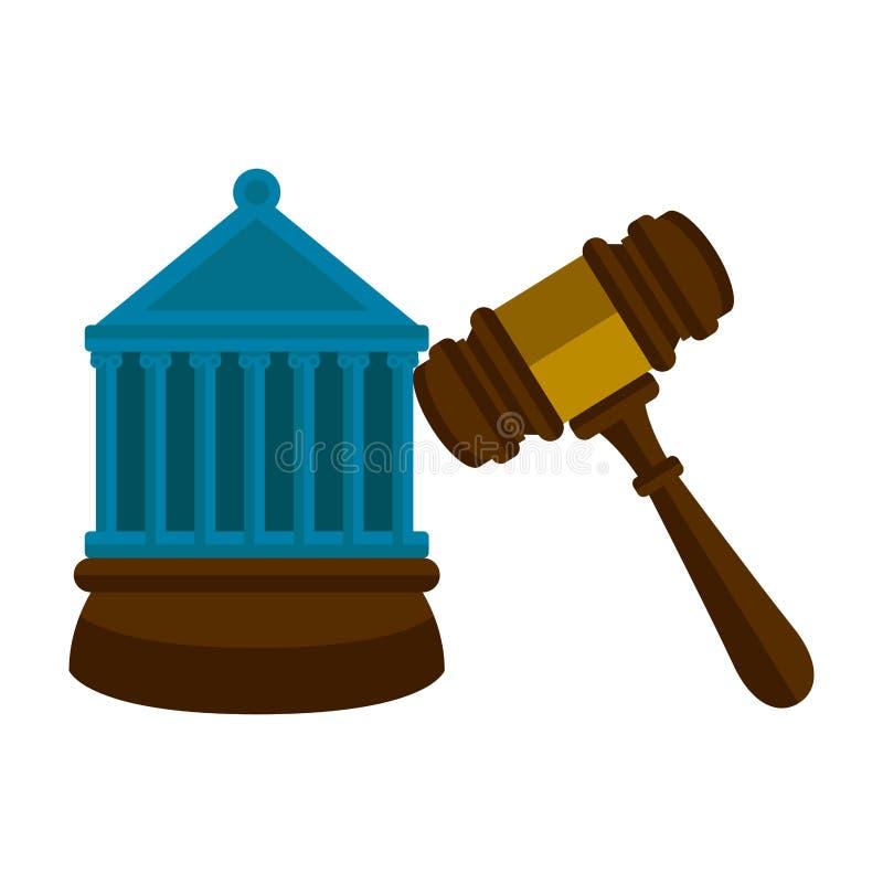 Träauktionsklubba med en domstolbyggnad vektor illustrationer