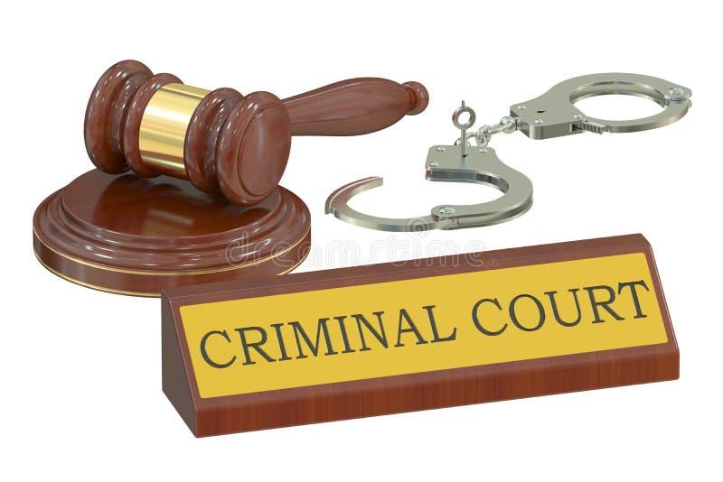 Träauktionsklubba och handbojor, brottmålsdomstolbegrepp framförande 3d royaltyfri illustrationer