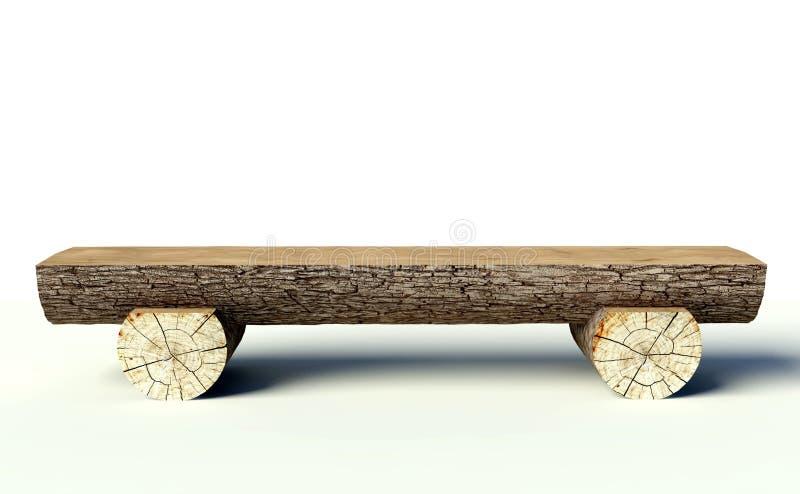 Träbänk som göras av treestammar stock illustrationer