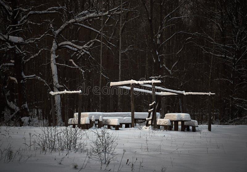 Träbänkar och en tabell som täckas med snö Campa picknick i träna f?r ligganderussia f?r 33c januari ural vinter temperatur royaltyfri bild