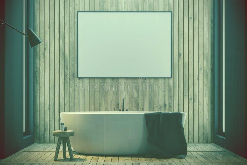 Träbadrummet, badar och den tonade affischen stock illustrationer