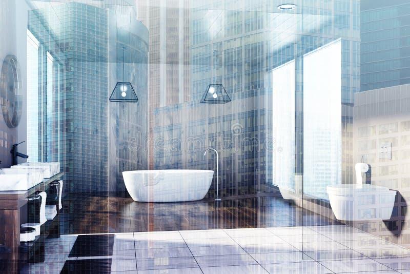 Träbadrummet, badar, vask- och toalettdubblett stock illustrationer