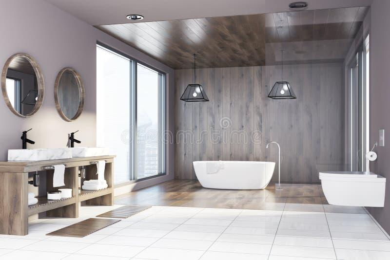 Träbadrummet, badar, vasken och toaletten, sida stock illustrationer