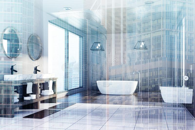 Träbadrummet, badar, vasken och toaletten, sidodubblett stock illustrationer