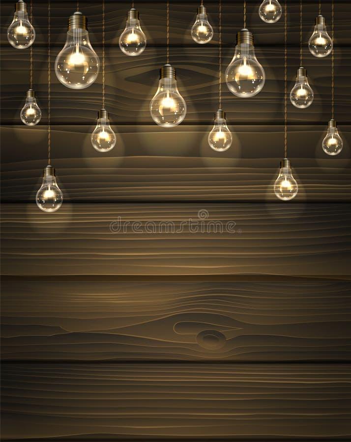 Träbakgrund för brun vektor med ljusa kulor royaltyfri illustrationer