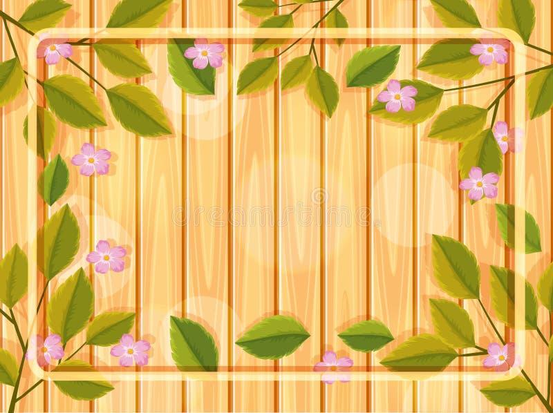Träbakgrund med blommaramen royaltyfri illustrationer