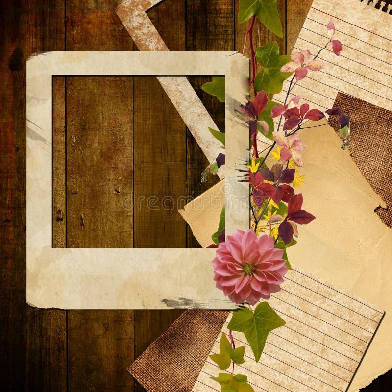Träbakgrund med höstsidor, pappersramen och blomman royaltyfri illustrationer