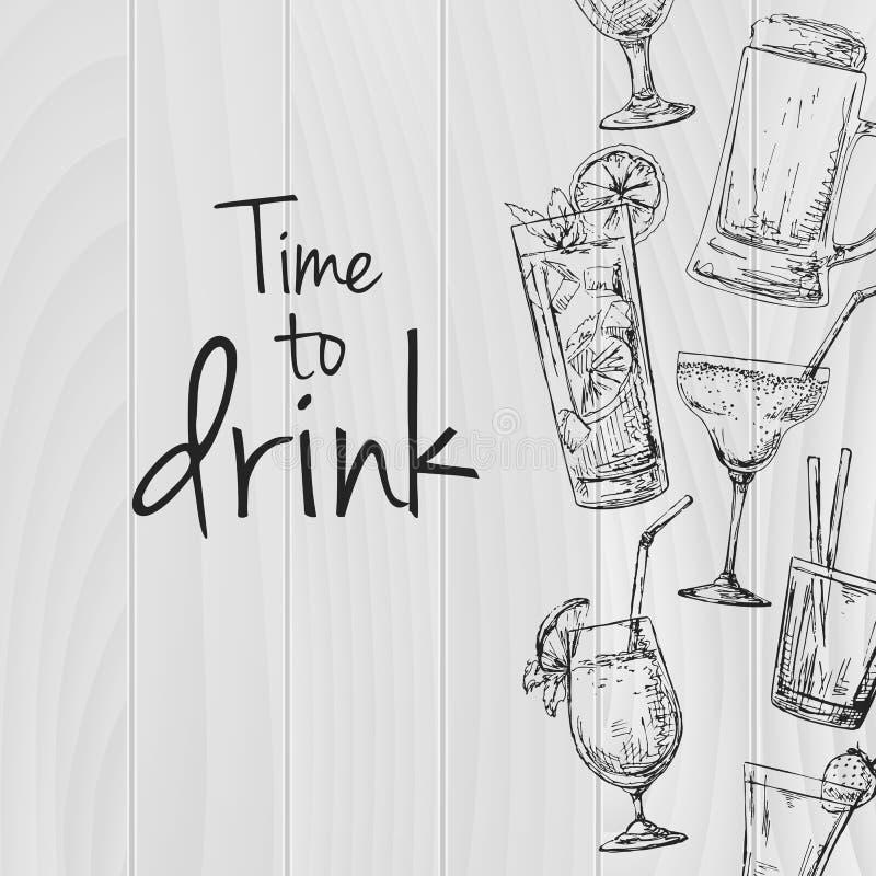 Träbakgrund med olika coctailar Överskrift: tid att dricka Förlägga på din text Vektorillustration av en skissastil stock illustrationer