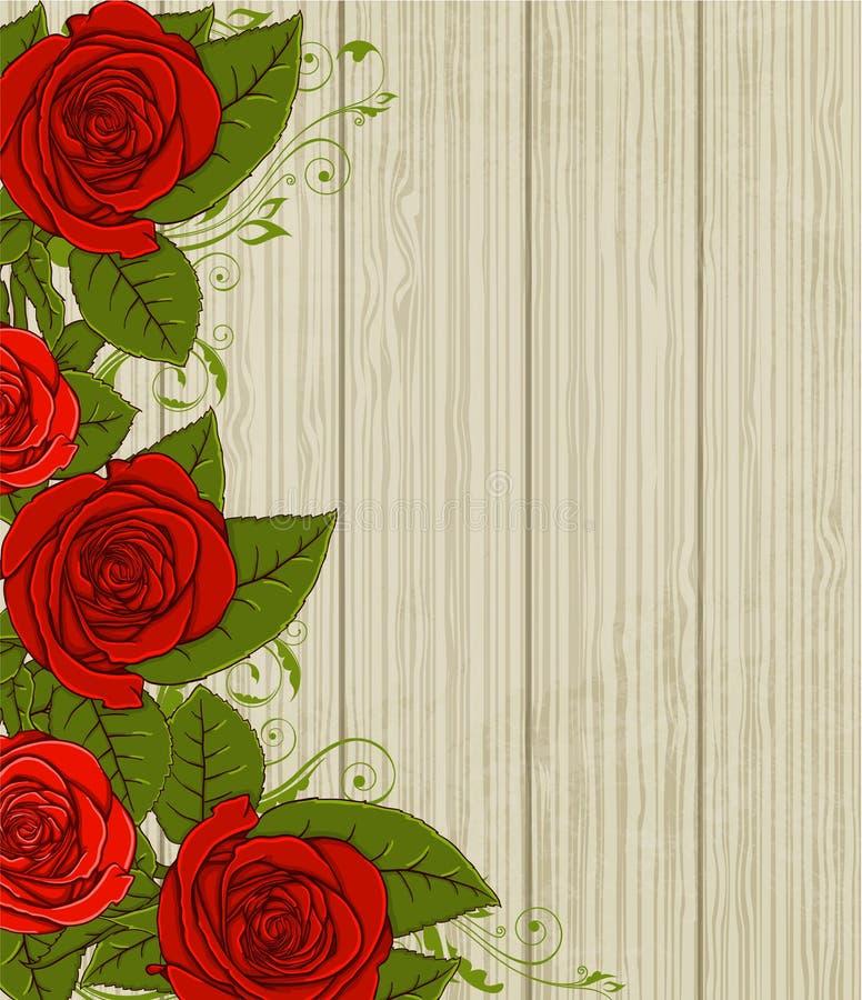 Träbakgrund med röda rosor royaltyfri illustrationer