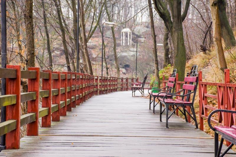 Träbana - försedd med gångjärn bro med våta bräden, smidesjärnbänkar och lyktor i parkera på en backe som förbiser den vita röta arkivfoto