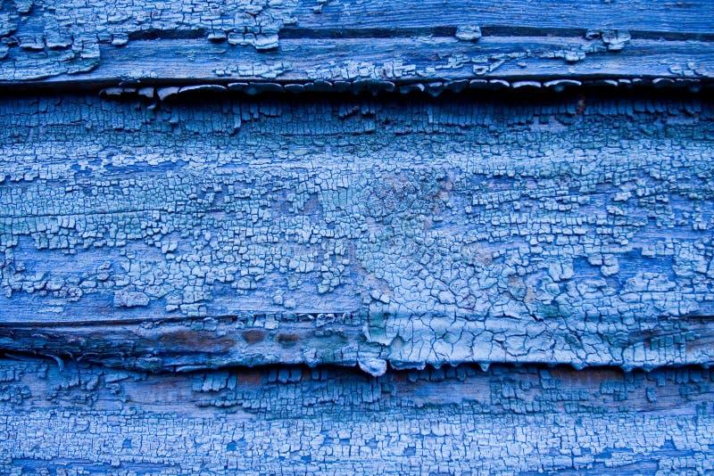 träblå sprucken vägg royaltyfria bilder