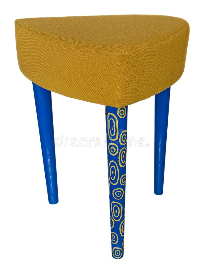 Träblått för handgjord stol med gula modeller Triangulär plats royaltyfri bild
