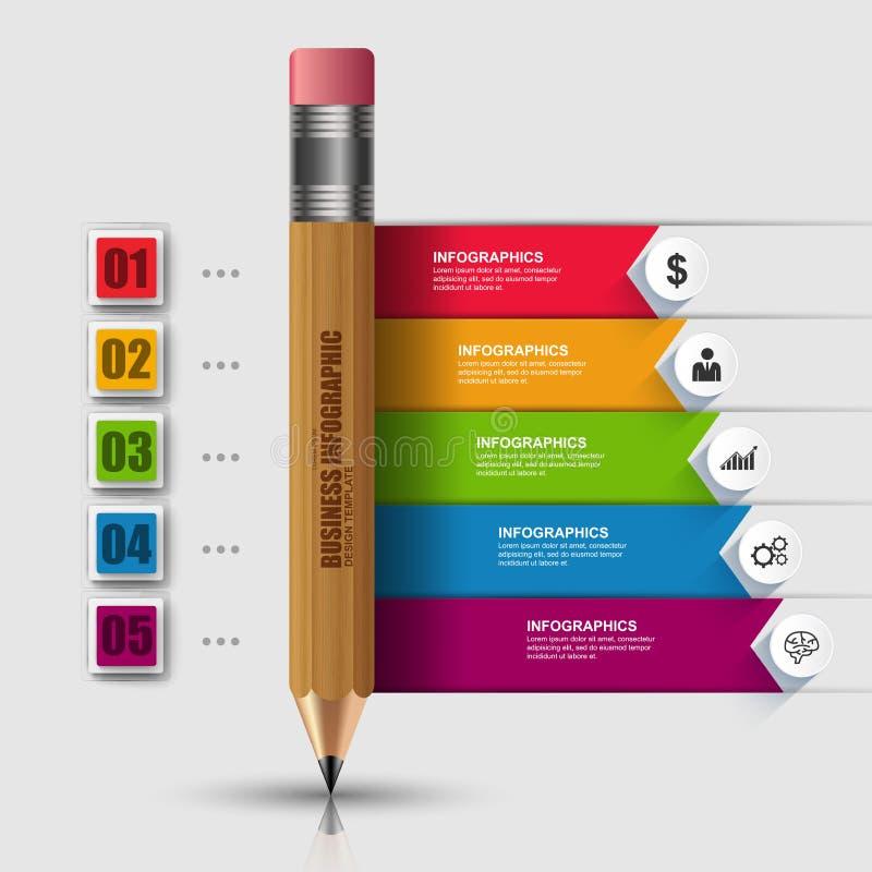 Träblyertspenna Infographic för abstrakt utbildning 3D royaltyfri illustrationer
