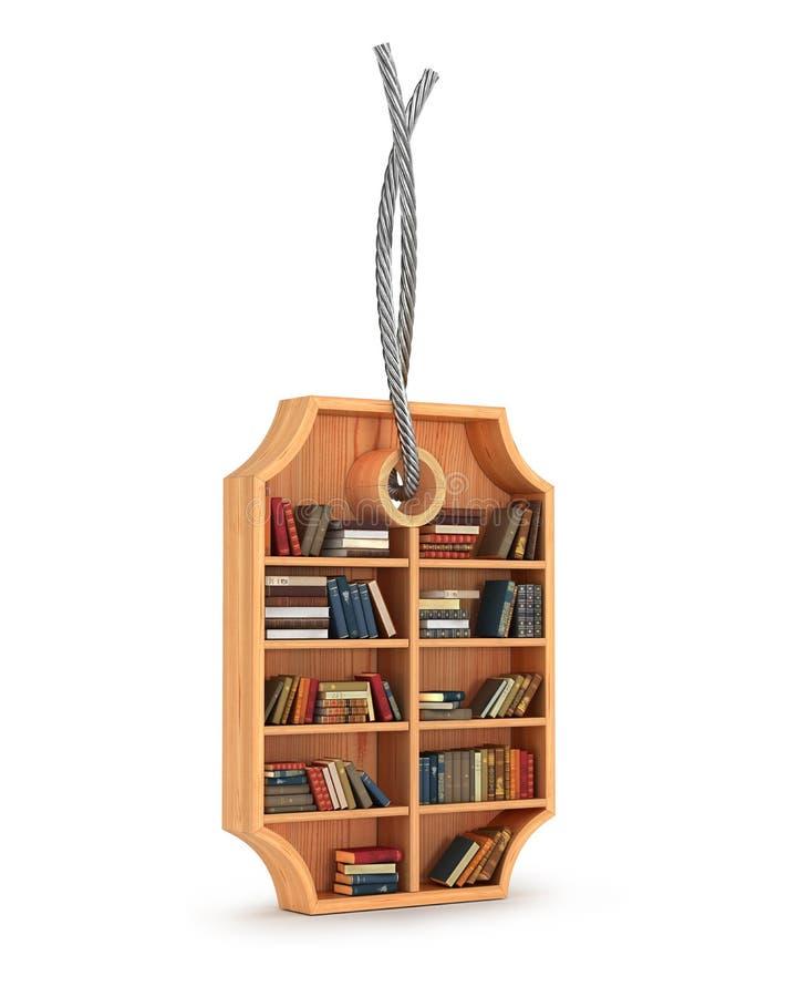 träbokhylla med böcker i form av försäljningsetiketten stock illustrationer