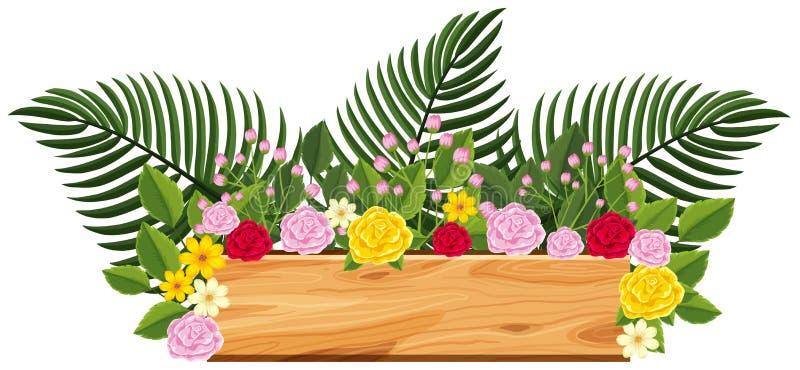 Träbräde med rosor och sidor överst vektor illustrationer
