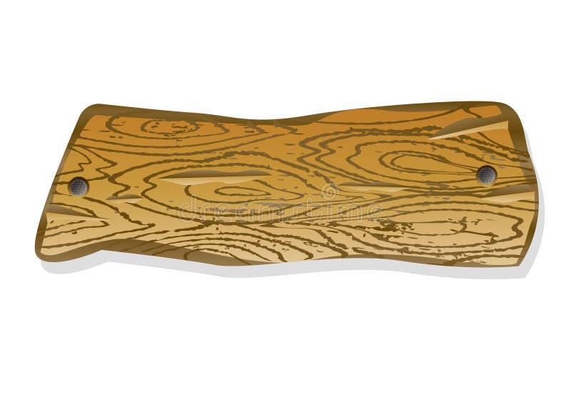 Träbrädet med spikar En lappa av trä stock illustrationer