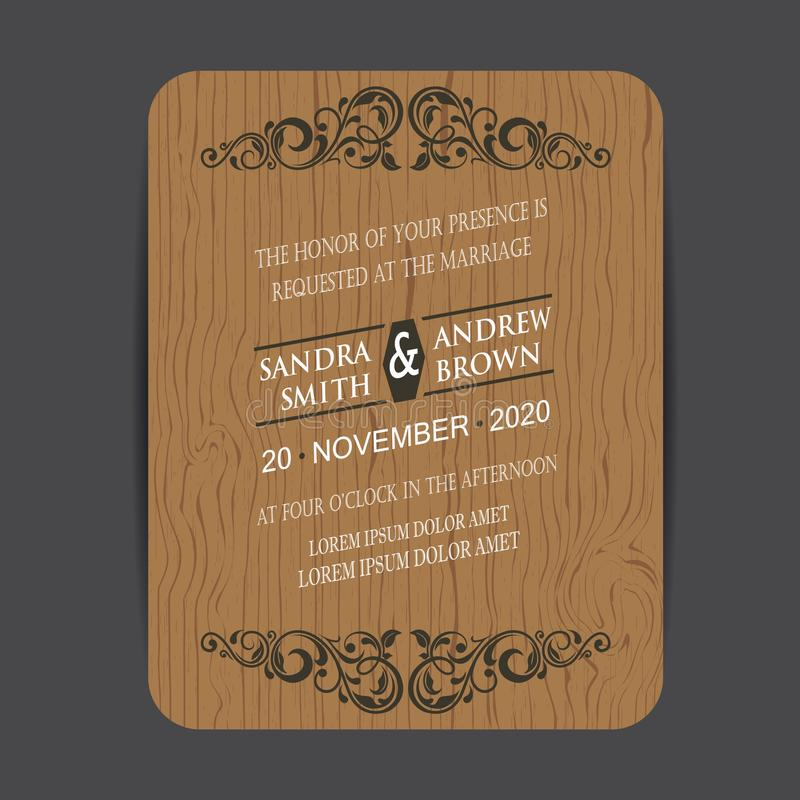 Träbröllopinbjudankort stock illustrationer
