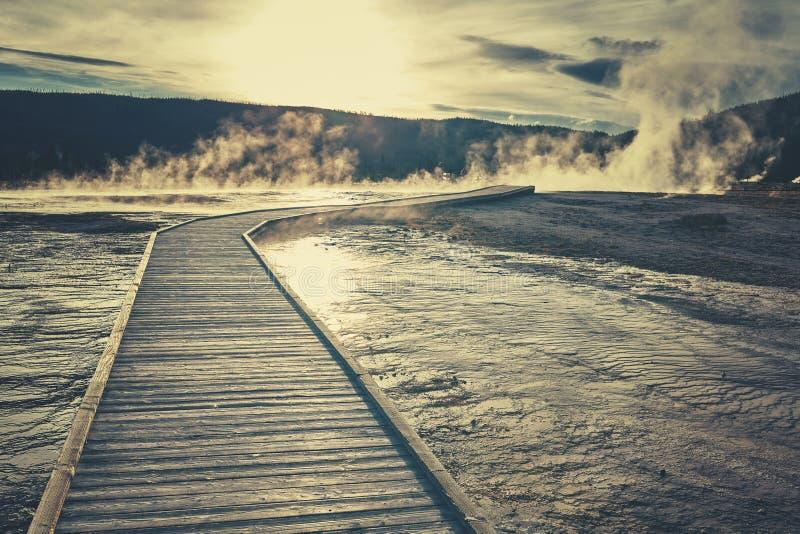 Träbro över ångande terräng i den Yellowstone nationalparken royaltyfri fotografi